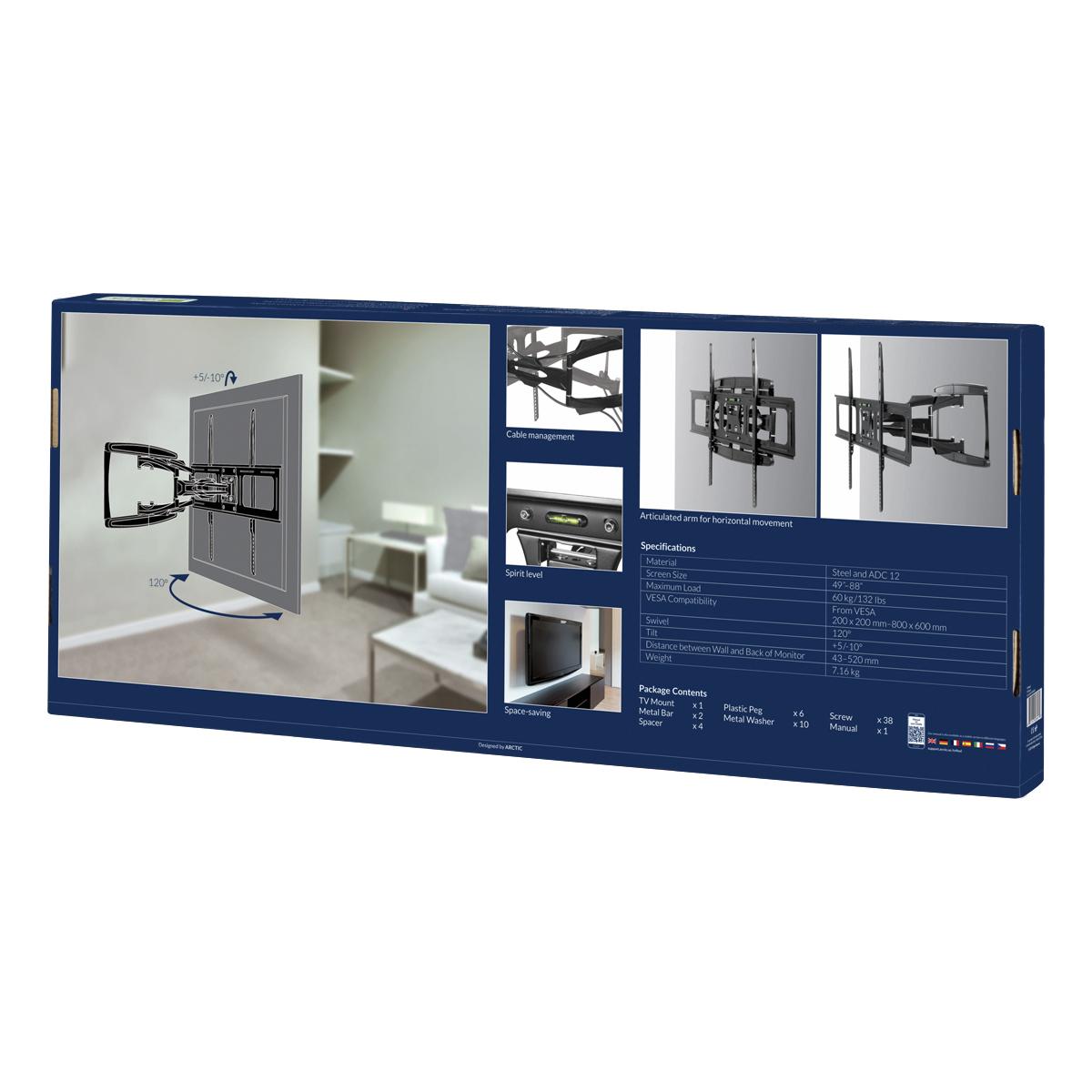 Suport profesional ARCTIC TV Flex L pentru televizor 49 - 88 inch, Unghi pivotant 120 grade, Inclinare suport: +5/-10°