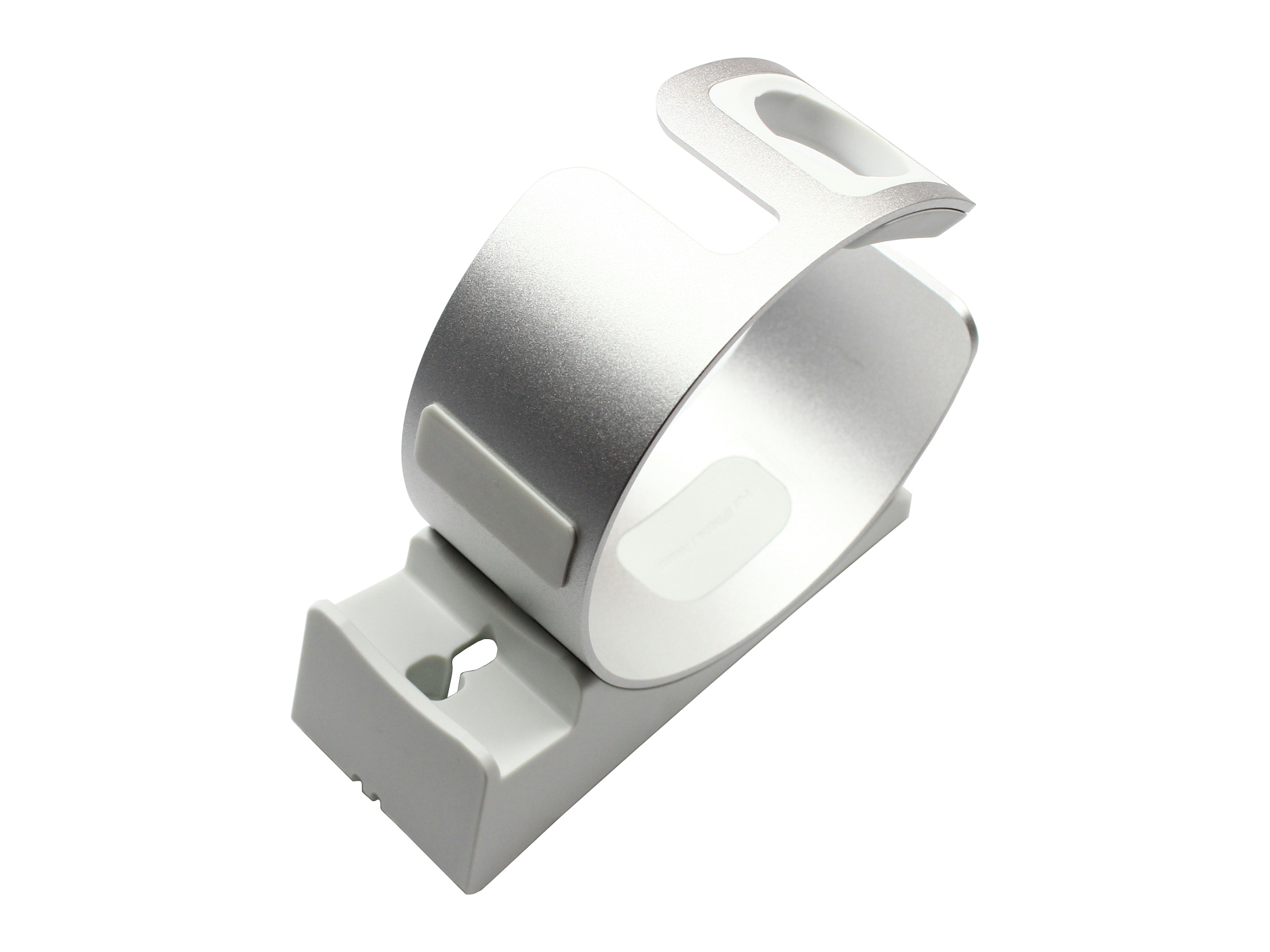 Stand de incarcare 2 in 1 pentru Apple Watch series 4, 3, 2, 1, iPhone XS, XS Max, XR, X, 8, 8 Plus, 7, 7 Plus, 6S, 6S Plus, 6, 6 Plus, SE, 5S, 5C, 5, aluminiu, argintiu