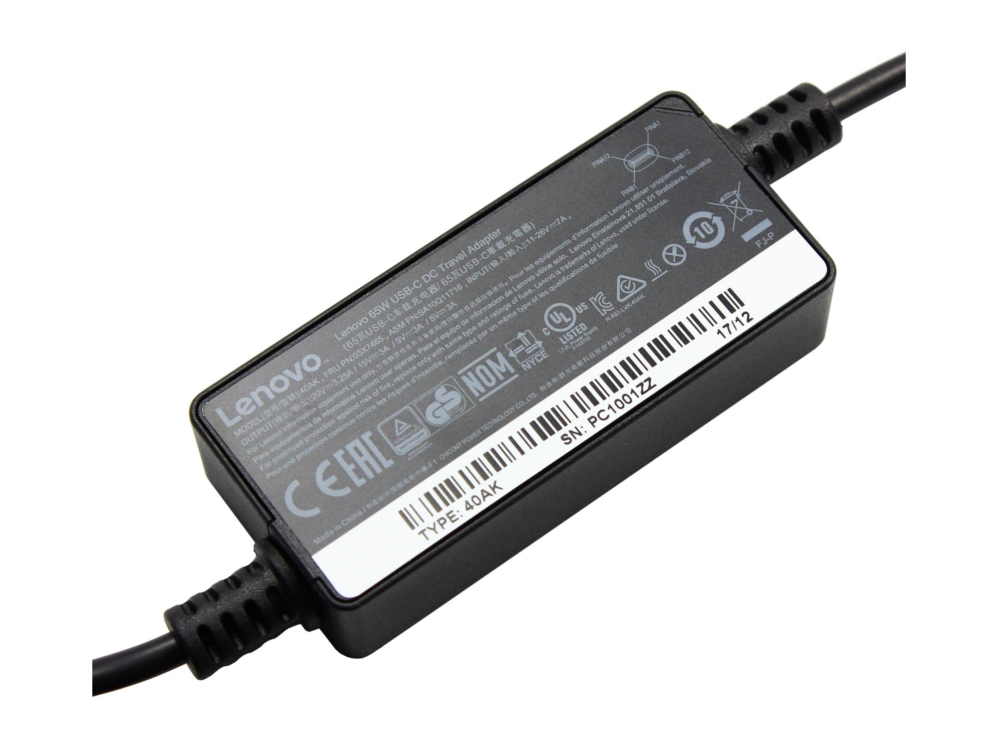 Incarcator auto original Lenovo 65W, USB-C
