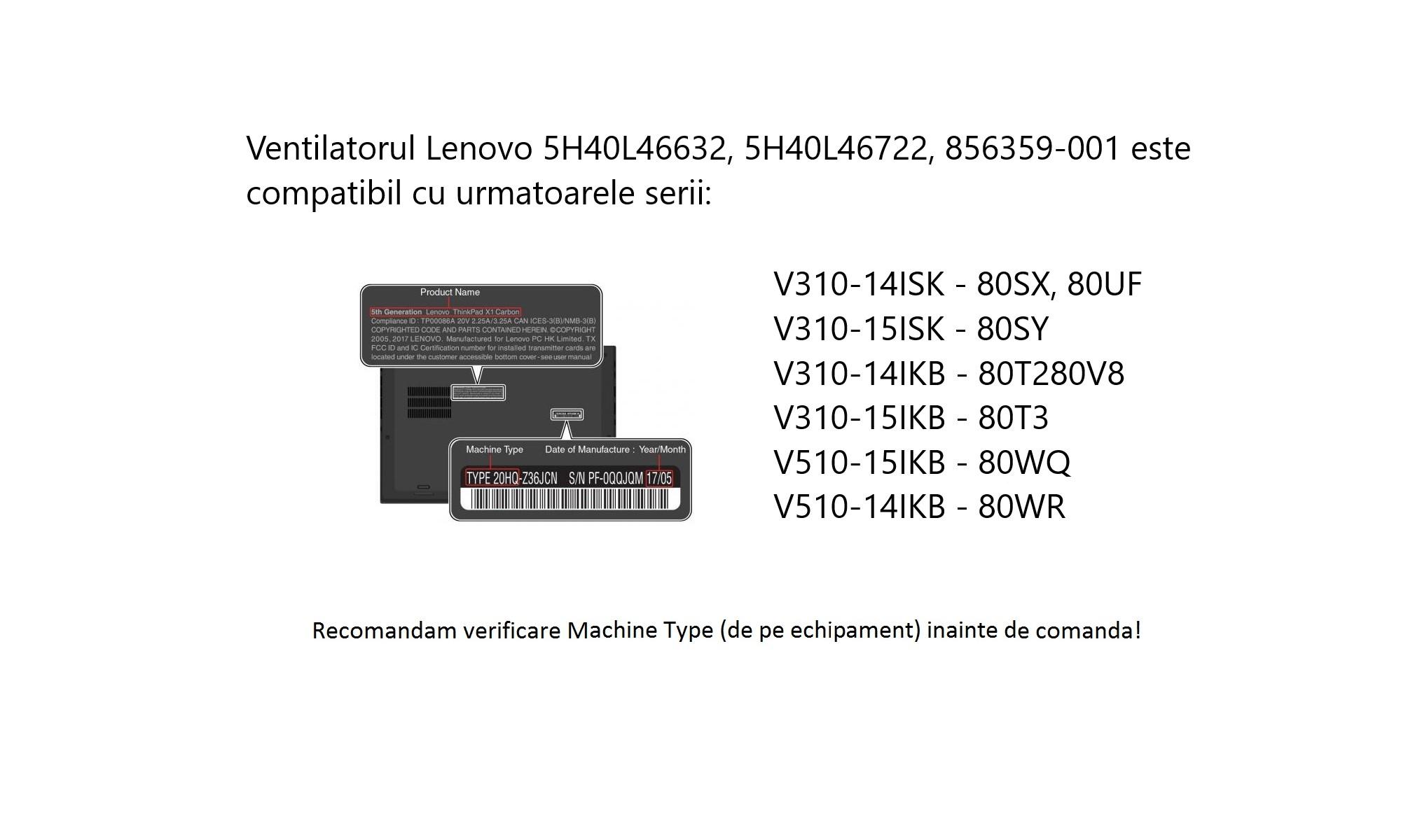 Cooler laptop Lenovo V310-15IKB Type 80T3