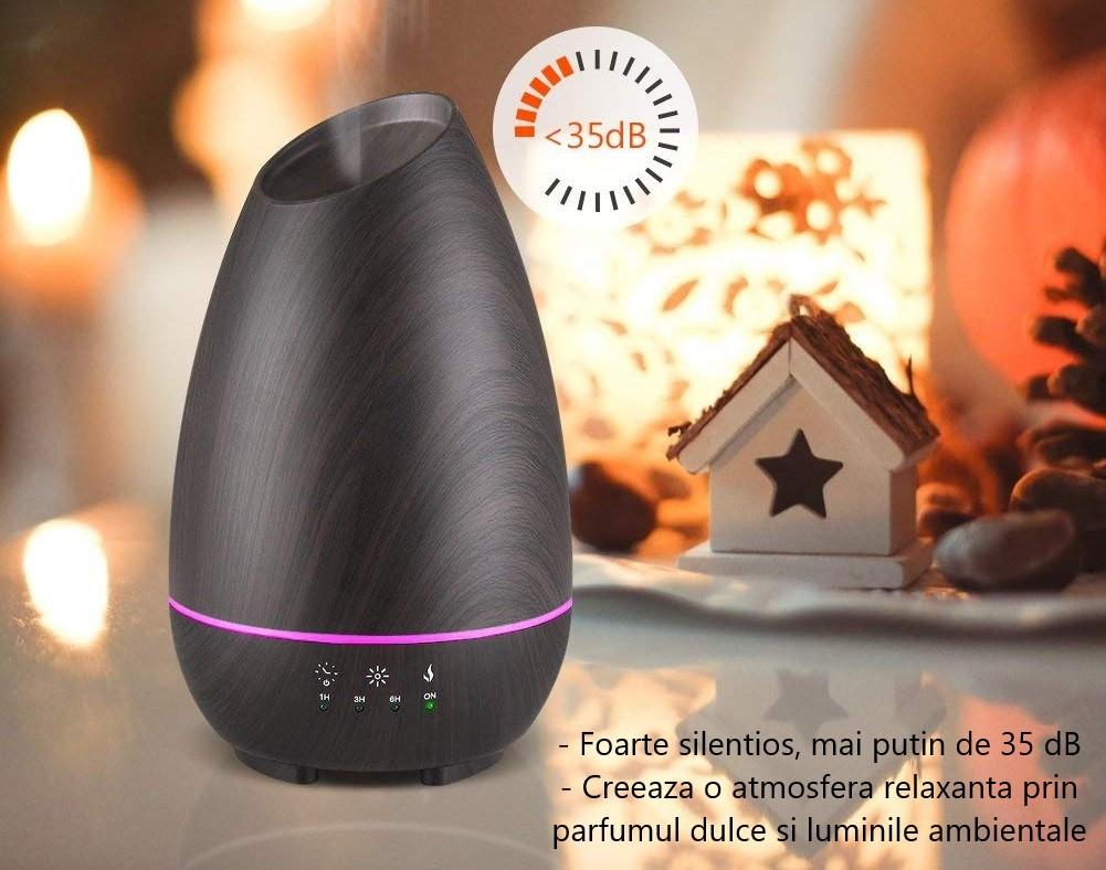 Difuzor InnoGear Aromatherapy cu control touch si temporizator ajustabil, 7 culori LED ambientale, 500ml