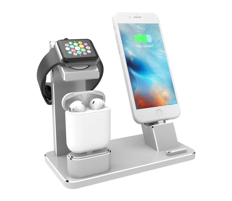 Stand de incarcare 4 in 1, pentru iPhone XS, X, Max, XR, 8, 8 Plus, 7, 7 Plus, 6S, 6S Plus, 6, 6 Plus, SE, 5S, 5C, 5, AirPods, Apple Watch 4 3 2 1, iPad Air, Mini, aluminiu, argintiu