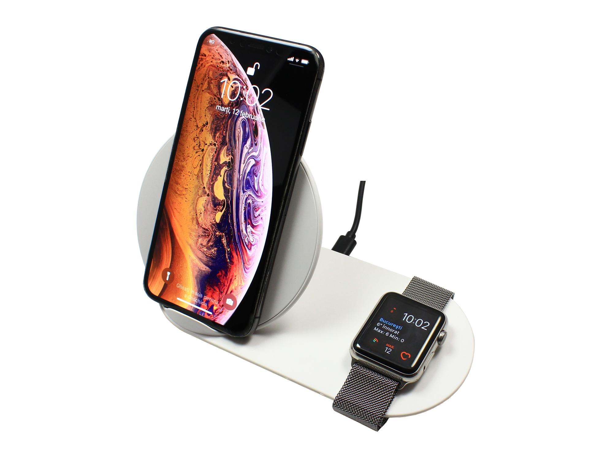 Stand de incarcare wireless 2 in 1 pentru Apple Watch 4, 3, 2, 1, iPhone XS, X, Max, XR, 8, 8 Plus, cu fast charging, Brand Doctor Laptop, model DRLN0220