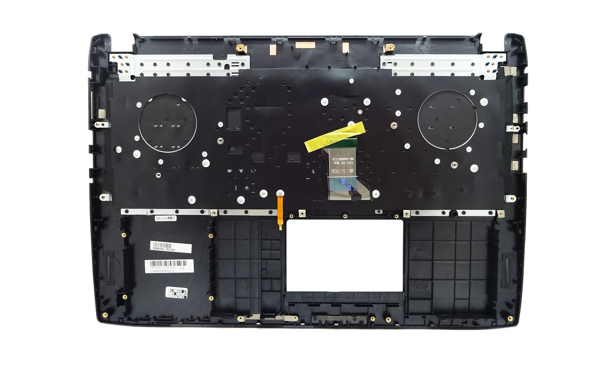 Carcasa superioara si tastatura originala Asus ROG FX502VD, FX502VM, FX502VS, FX502VT, FX502VY, FX60VM, layout US, neagra, cu iluminare, model 90NB0F05-R31US0
