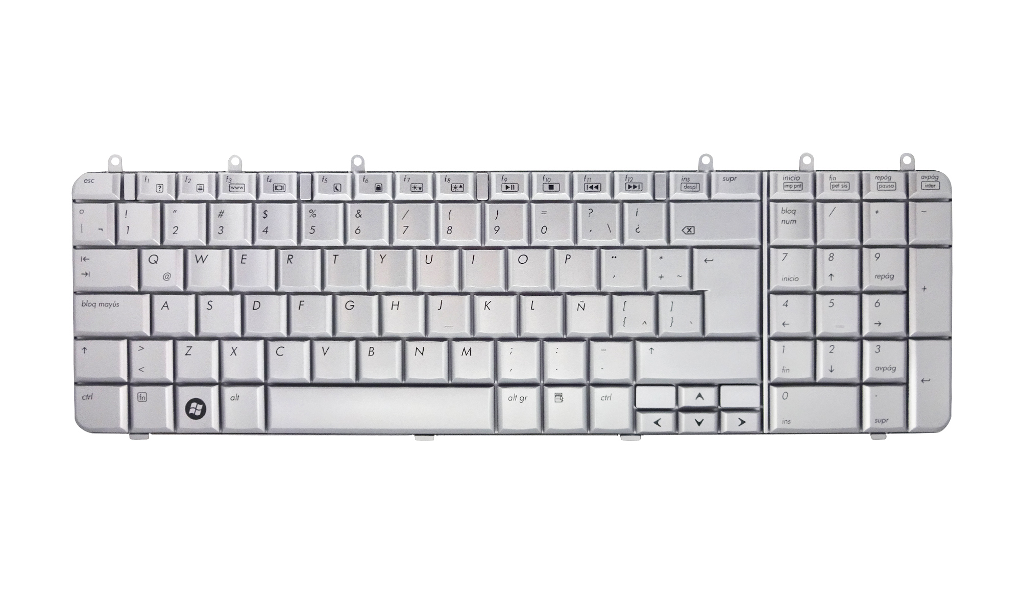 Tastatura compatibila laptop HP Pavilion DV7-1000, DV7-1002, DV7-1004, DV7-1008, DV7-1011, DV7-1017, DV7-1021, DV7-1030, DV7-1040, DV7-1050, DV7-1060, DV7-1070, DV7-1080, DV7-1090, argintie, layout spaniol