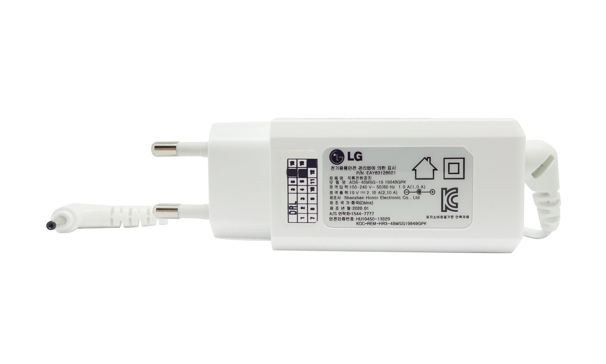 Incarcator original LG Gram, 19V, 2.1A, 40W, mufa 3 x 1mm, alb