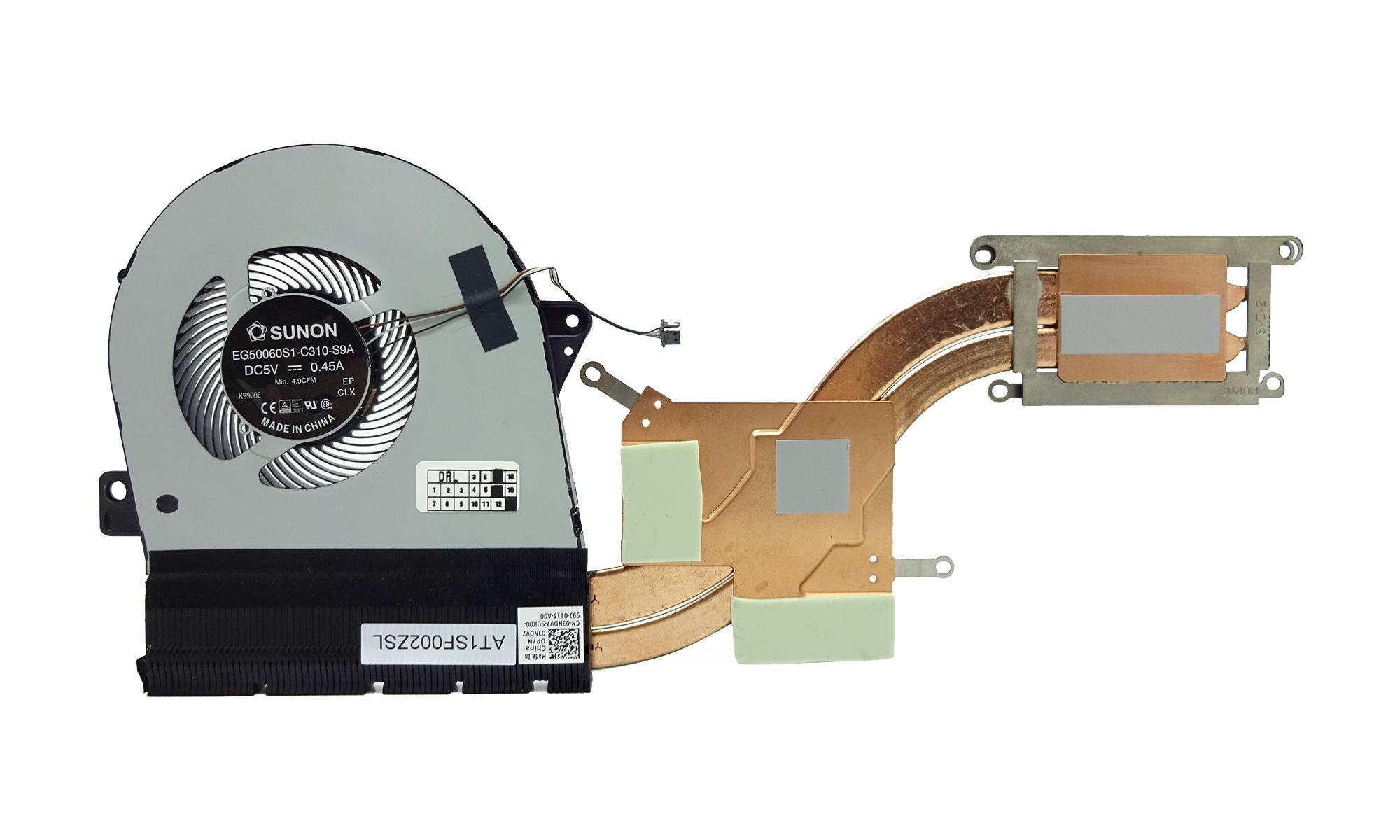Sistem racire original laptop Dell Latitude 5580, 5591, Precision 3520, 3530 echipate cu procesor Intel seria H (performante ridicate) si placa video dedicata Nvidia, model 3NDV7