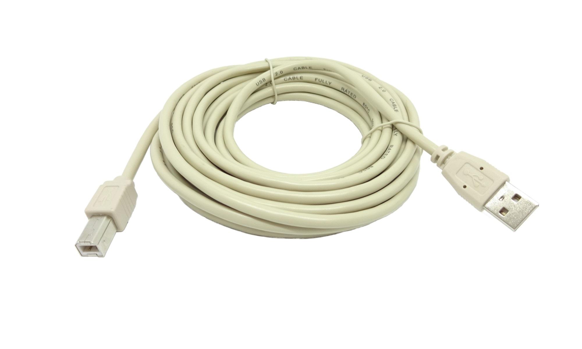 Cablu USB 2.0 A - B pentru imprimanta, 5 m, crem
