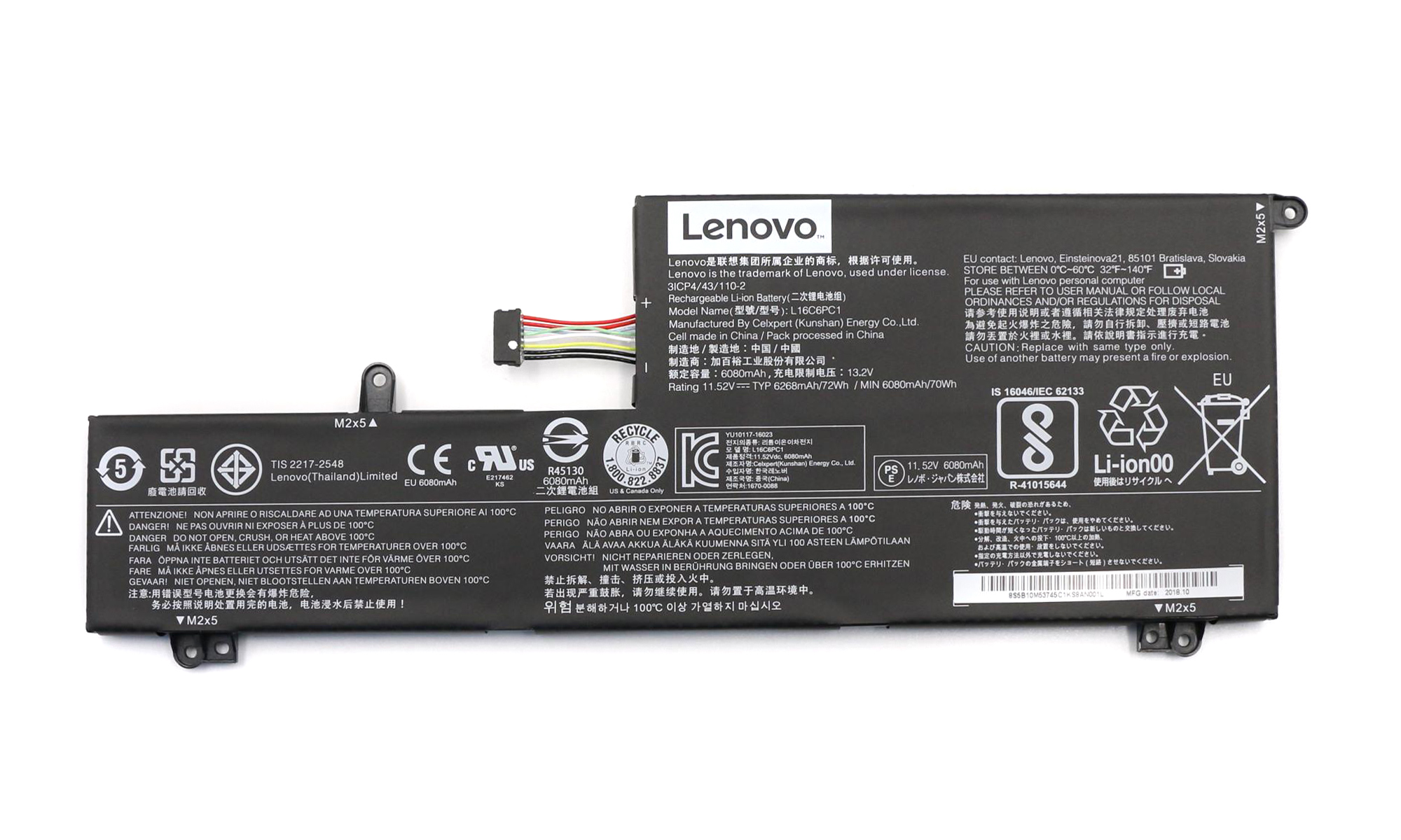 Baterie originala Lenovo IdeaPad Yoga 720-15IKB, 11.52 V, 6268 mAh, 72 Wh, model L16C6PC1