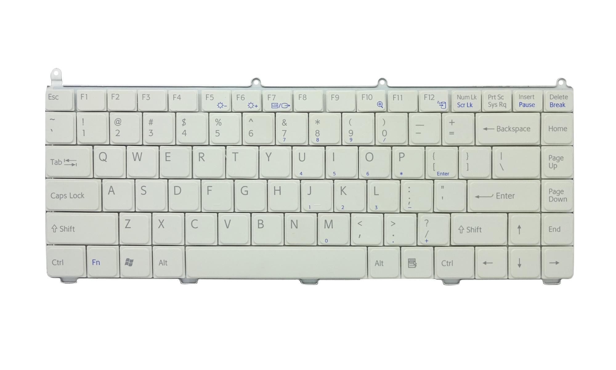 Tastatura compatibila Sony Vaio VGN-AR, VGN-FE, layout US, alba, fara iluminare