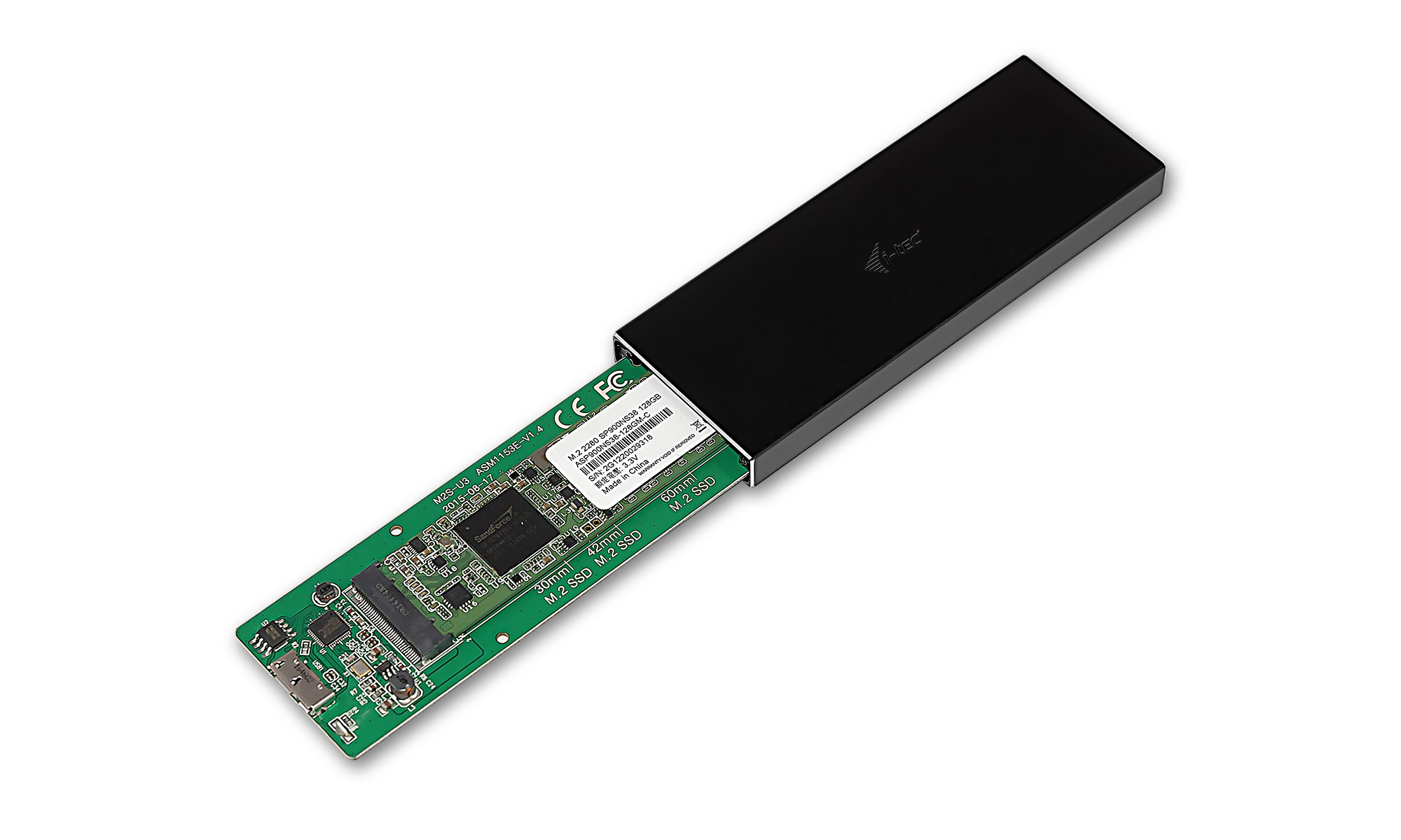 Rack extern M.2 SATA B Key SSD, USB-A 2.0 & 3.0, carcasa aluminiu, i-tec MySafeM2